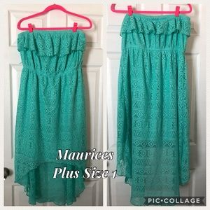Maurices Mint Lace High Low Strapless Dress
